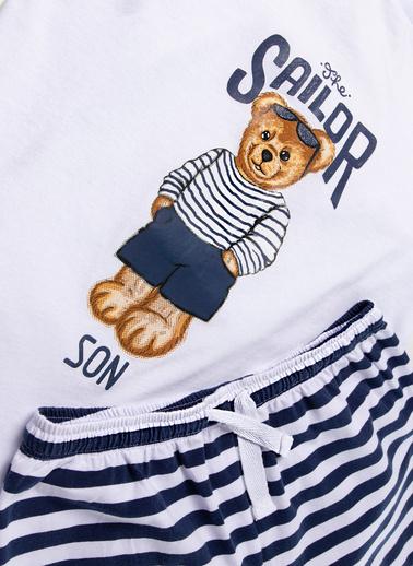 Katia & Bony Teddy Bear Family Team Erkek Çocuk Şort Takım  Beyaz